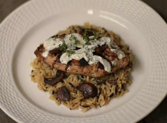 """BMC"" – Chicken with Thyme Cream and Baby Bellas over Wild Rice"