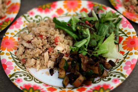 Quinoa Pilaf with Sauteed Vegetables and Spring Salad