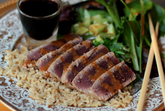 seared ahi tuna over brown rice with sesame ginger salad