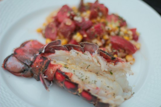 """You Go, Grill!!!!"" – Grilled Lobster Tail with Grilled Corn & Tomato Salad"