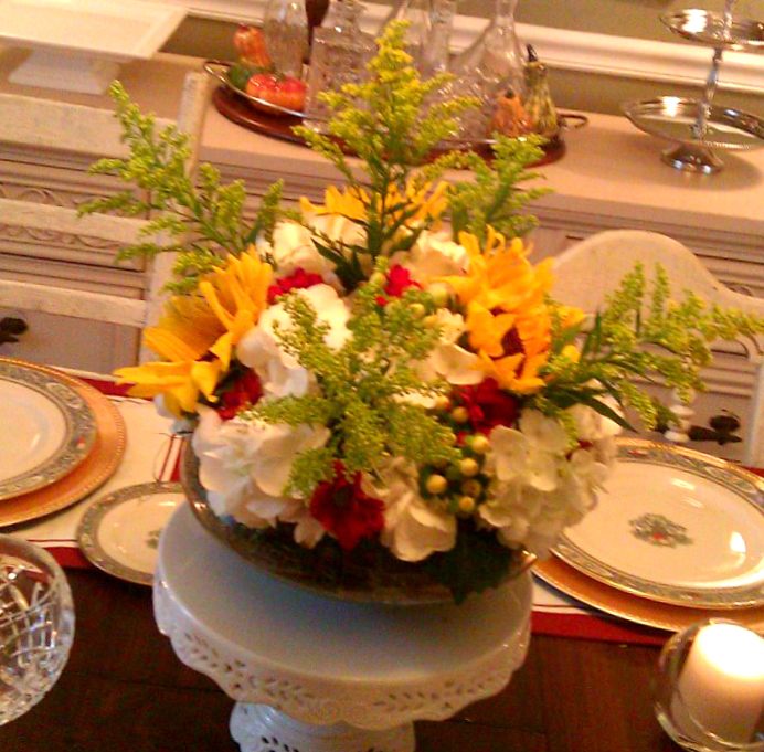 Thanksgiving floral centerpiece high heels to hot wheels