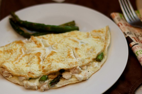 Eqq White Omelette with Turkey, Asparagus & Goat Cheese