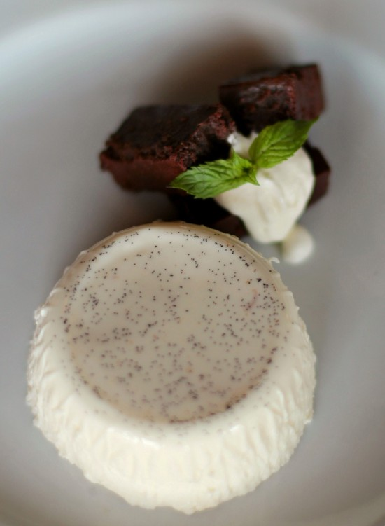 Bria Bistro's Panna Cotta with Flourless Chocolate Cake