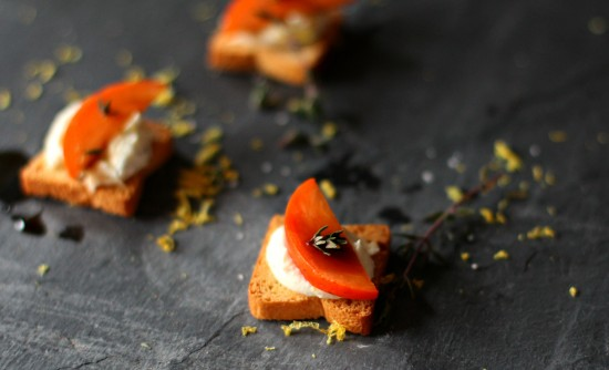 Goat Cheese & Ricotta Mini Toasts with Persimmons