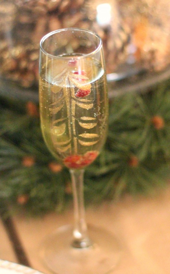 Pomegranate Bellini and DIY Festive Champagne Glasses