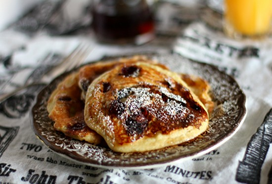 Cranberry and Chocolate Chip Ricotta Pancakes