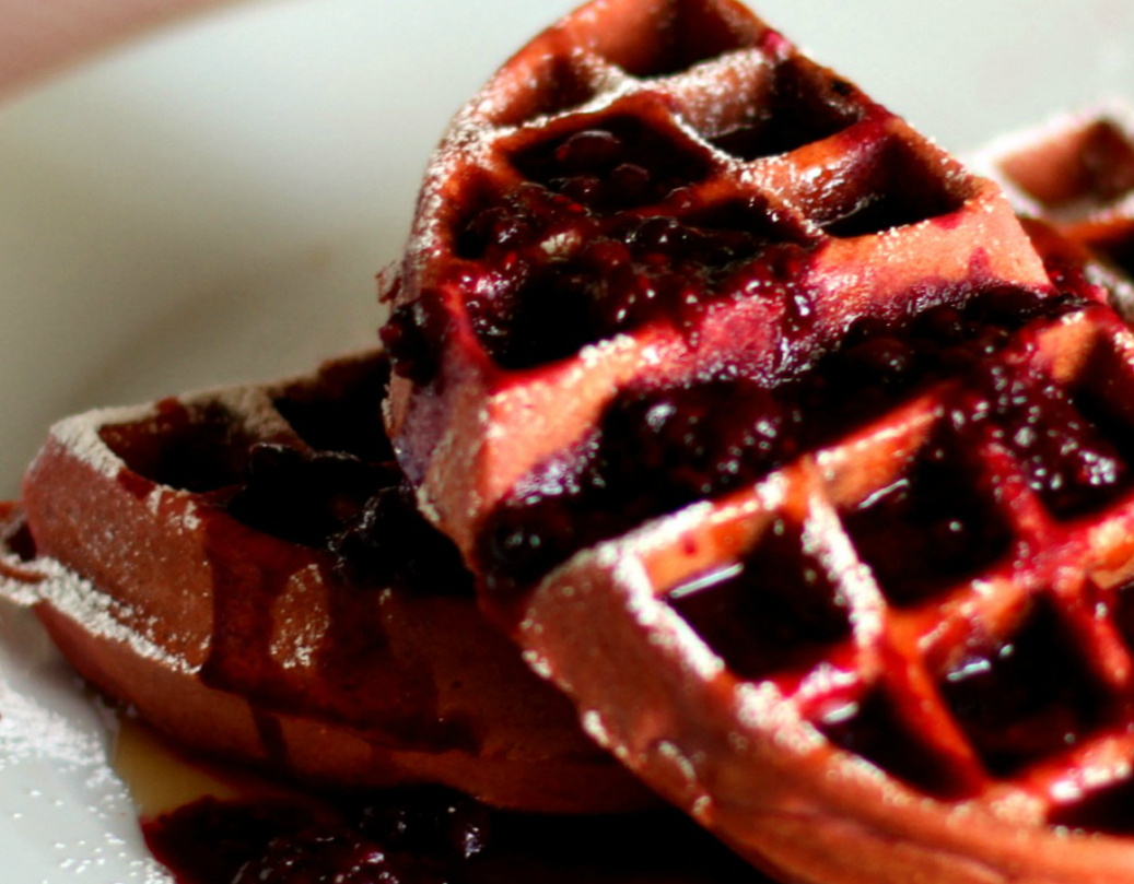 Red Velvet Waffles With Warm Berry Compote High Heels To