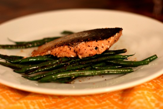 Pan-Roasted Salmon with Sauteed Haricot Vert