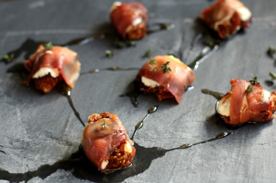 Prosciutto Wrapped Goat Cheese Stuffed Figs