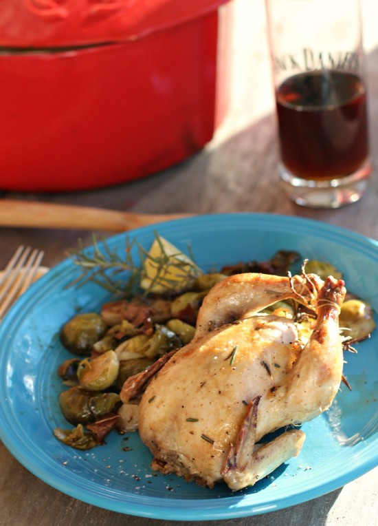 Roasted Cornish Game Hen & Brussels Sprouts with Prosciutto