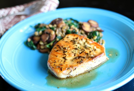 Pan Seared Swordfish with Sauteed Spinach & Mushroom Lentil Salad
