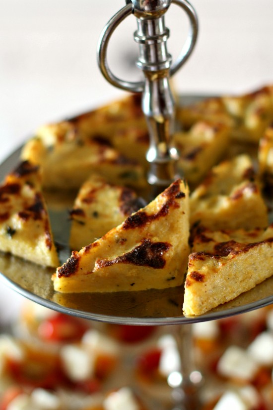 baked polenta triangles