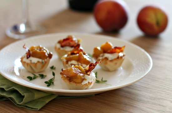 Drunken Peach and Goat Cheese Bites with Crispy Proscuitto