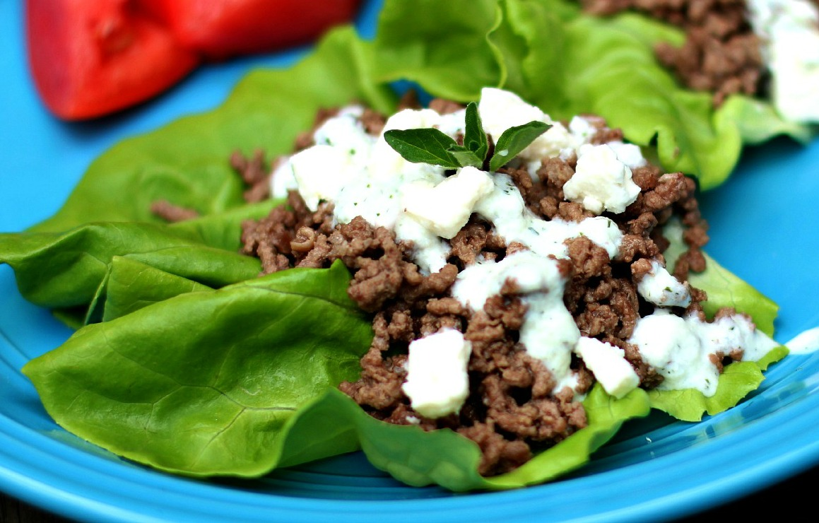 Greek Lettuce Wraps with Tzatziki Sauce