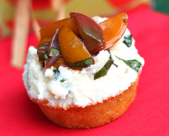 Balsamic Bruschetta with Basil Ricotta on Sweet Cornbread Tarts