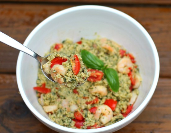 pesto with shrimp and tomatoes