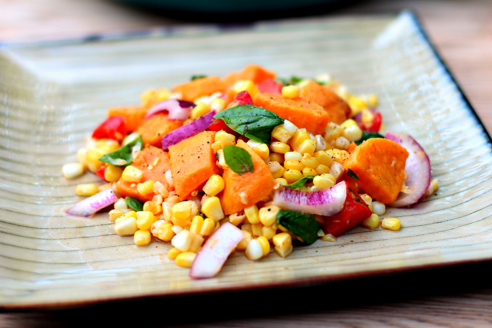 Sweet Potato, Corn, Tomato & Basil Salad