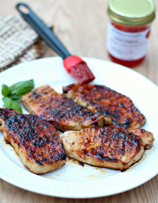 Tomato jam glazed grilled pork chops