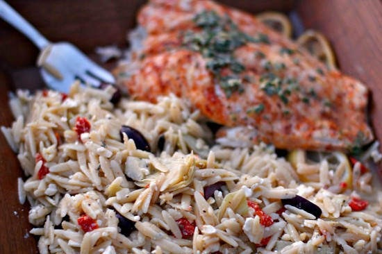 Baked Seasoned Red Snapper with Greek Orzo