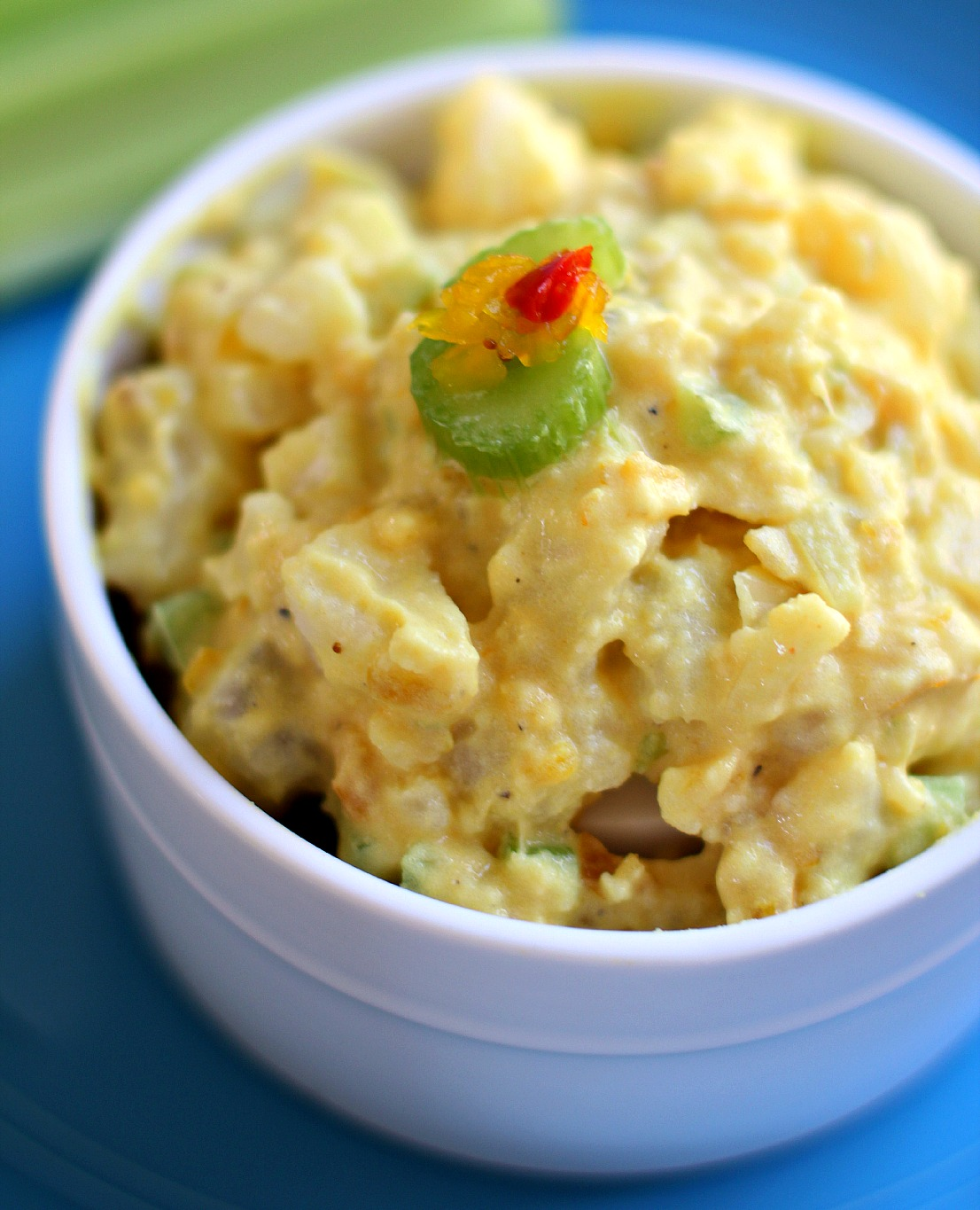 traditional mustard potato salad with a tangy tomato relish.