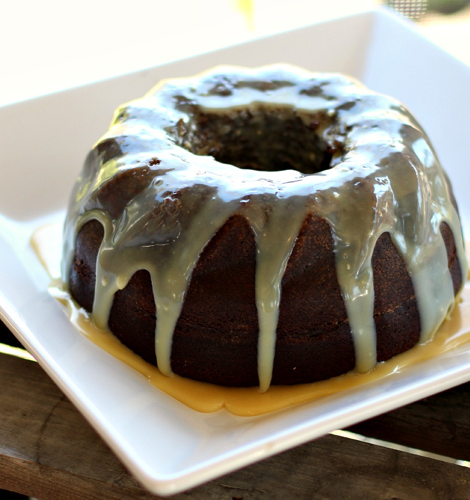Chocolate Sour Cream Bundt Cake with Ghirardelli White Chocolate Glaze