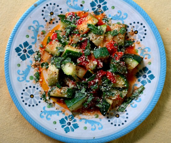 Zucchini & Tomato Saute with Parmesan and Basil