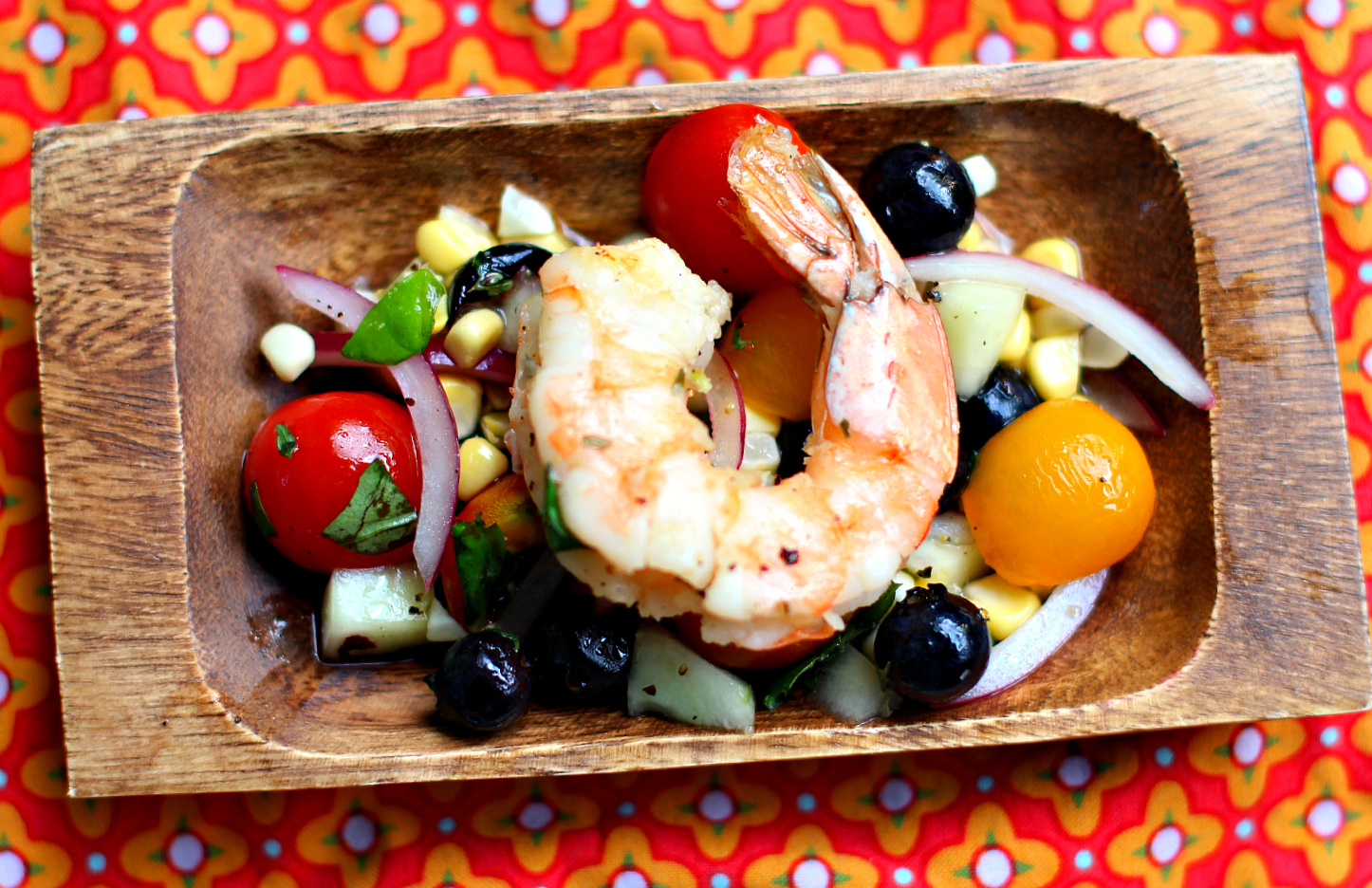 Corn & Blueberry Salad with Grilled Shrimp