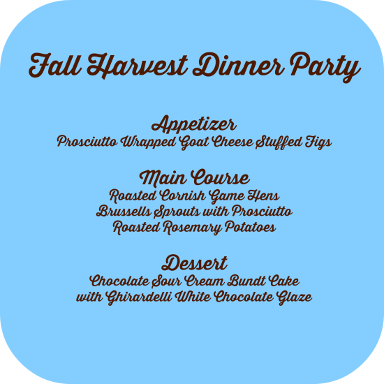 harvest party menu