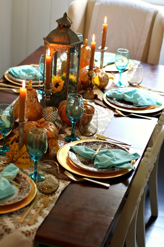 Sparkle & Sky Fall Tablescape
