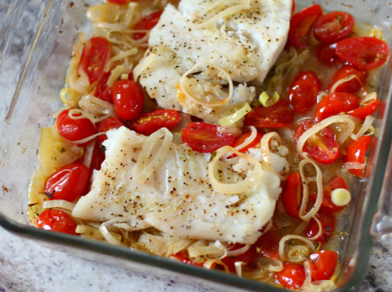 Cod with Leeks & Tomatoes
