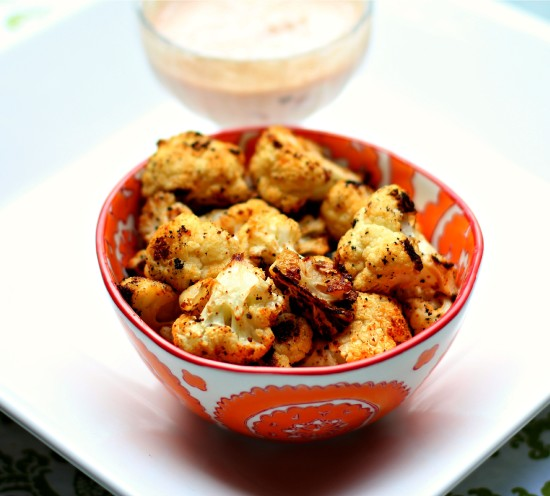 Roasted Cauliflower with Zesty Dipping Sauce