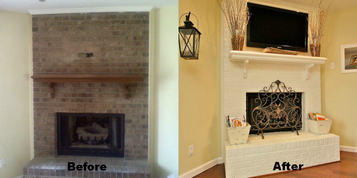 Brick Fireplace Painting And Renovation High Heels To Hot Wheels Before After